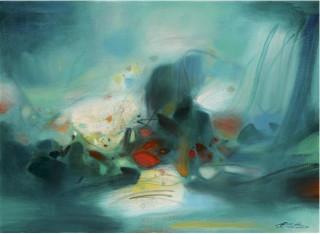 Chu Teh-Chun, parmi les verts, tableau