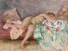 Henri Lebasque, nu au coussin espagnol, tableau