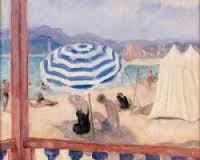 Henri Lebasque, parasol bleu et tentes, tableau