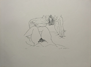 André Masson, l'attente, lithographie