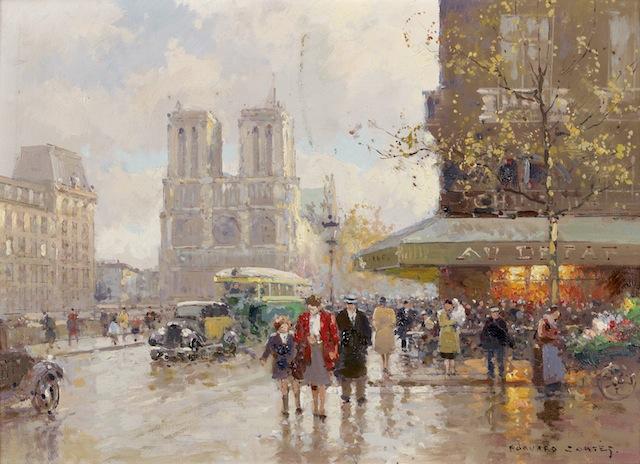 Exceptionnel Edouard Cortès, vue sur Notre Dame, quartier latin - - Expertisez.com YR55