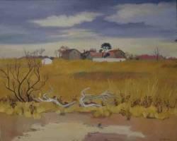 Yves Brayer, paysage de Camargue, tableau