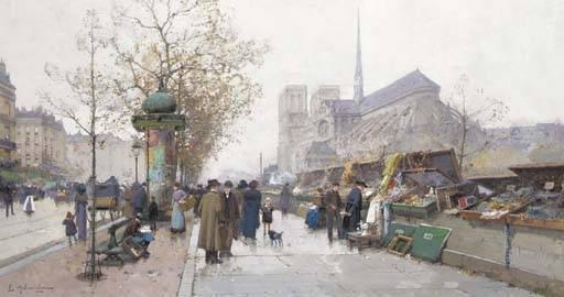 Eugène Galien Laloue, les quais à Paris, gouache