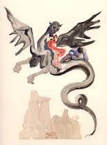 Salvador Dali, Divine Comédie, les Usuriers, estampe