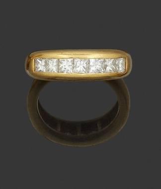 Bague jonc diamants et or