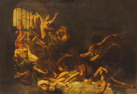 Gustave Surand, esclaves aux lions, tableau