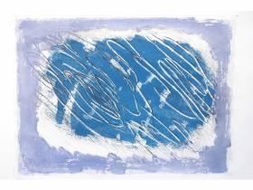 Fautrier Jean - Ecriture sur fond bleu