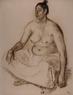 Francisco Zuniga, femme assise, fusain et crayon