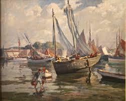 Henri Barnoin, port à marée basse, tableau