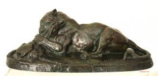 Antoine Louis Barye, tigre dévorant une gazelle, bronze