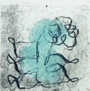 Fautrier Jean - Petit Paysage vert et violet