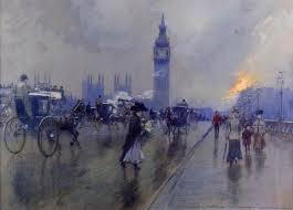Georges Stein, le pont de Westminster, gouache