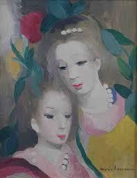 Laurencin Marie, jeune fille à la rose, tableau